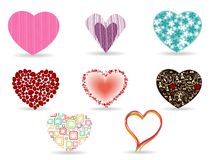 A set of diffrent style heart shape. Royalty Free Stock Photos