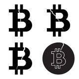 A set of digital bitcoin crypto symbols with a crack, flat style Stock Image