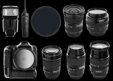 Set of digital camera and lenses Stock Images