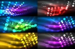 Set of digital circle neon lights abstract backgrounds. Vector technology desgin with light effects Stock Image
