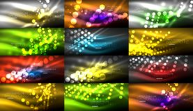 Set of digital circle neon lights abstract backgrounds. Vector technology desgin with light effects Stock Photos