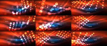 Set of digital circle neon lights abstract backgrounds. Vector technology desgin with light effects Royalty Free Stock Image