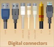 Set of digital connectors Royalty Free Stock Image