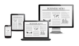 Set of digital devices with business news Stock Images