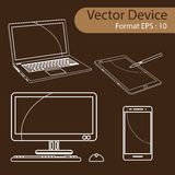 Set of Digital devices vector illustration. Set of Digital devices computer monitors, laptops, tablets and mobile phones. Electronic gadgets isolated, vector Stock Image