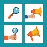 Set digital marketing network media communication. Vector illustration Royalty Free Stock Photography