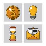 Set digital marketing network media communication. Vector illustration Stock Photos