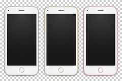 Set of digital mobile phones templates different colors. Set of digital mobile phones templates different colors with empty screens on transparent background Royalty Free Stock Image