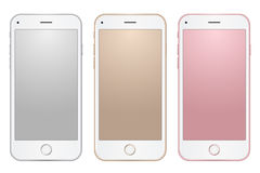 Set of digital mobile phones templates different colors with empty screens on transparent background. Show your design, web, app Royalty Free Stock Photos