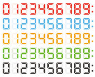 Set of digital numbers, led clock numbers Royalty Free Stock Photo