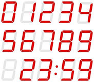 Set of digital numbers made of red led Royalty Free Stock Images