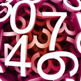 Set of digital numbers. Vector red background Royalty Free Stock Images