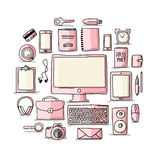 Set of digital office devices. Sketch for your Stock Photography