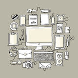 Set of digital office devices. Sketch for your Royalty Free Stock Images