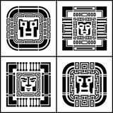 A set of digital pixel cyber avatar icons. Computer technology, security, hacking. Black and white face person. 8-bit abstract sym. Set of pixel avatar icons Stock Photos