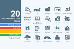 Set of digital protection icons Royalty Free Stock Photography