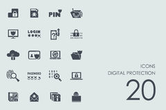 Set of digital protection icons Royalty Free Stock Photo