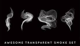 Set of digital realistic smoke vector illustration, curly smoke flow collection, curved transparent smoke flow image. High Quality Illustration in Vector EPS 10 Stock Images