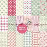 Set of digital seamless patterns Stock Images