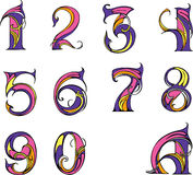 Set of digits. In modern style. Color vector illustrations Stock Image