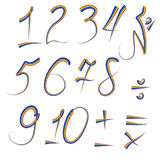 A set of digits from one to ten written in an iridescent outline, plus, minus, divide, multiply, equals Stock Images