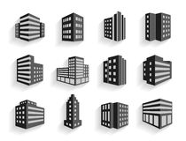 Set of dimensional buildings icons. In grey and white with shadow depicting high-rise commercial buildings  office blocks and residential apartments Royalty Free Stock Image