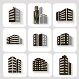 Set of dimensional buildings icons in grey and Stock Photos