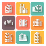 Set of dimensional buildings icons  with shadow Stock Images