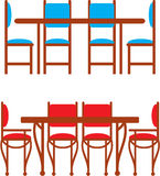 Set of dining tables and chairs Royalty Free Stock Photo