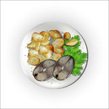 A set for a dinner, fish with potatoes. Royalty Free Stock Photos