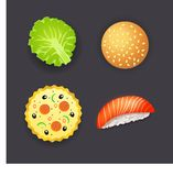 Set of dinner, pizza, burger, sushi and salad leaf Stock Photography