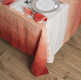 Set Dinnerware on Table with Gradient Orange Zigzag Design Table Stock Photography