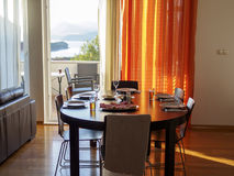 Set dinning room table. Ready for dinner Royalty Free Stock Photography