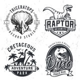 Set of Dino Logos. Raptor t-shirt illustration concept on grunge background. T-rex beer label design. Vintage Jurassic Stock Photos