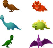 Set dino. Six Cartoon dinosaur set, with six different dinosaurs in different colours: brown dinosaur, red dinosaur, blue dinosaur, green dinosaur and violet Stock Photography
