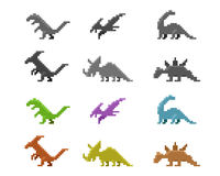 Set of dinosaur icons in color pixel style, vector Royalty Free Stock Image