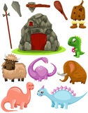 Set dinosaurs and caveman weapons Stock Images