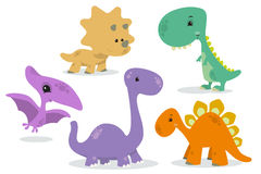 Set of dinosaurs Stock Photos