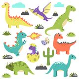 Set of Dinosaurs Icons on Vector Illustration Royalty Free Stock Images
