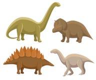 Set of dinosaurs. Stegosaurus, triceratops, Iguanodon, diplodocus. Vector illustration isolated on white. Colorful set of fantasy stock illustration