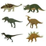 Set of dinosaurs. Stegosaurus, tyrannosaurus, triceratops ankylosaurus hidrosaurus velciraptor stock illustration
