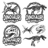 Set of dinosaurs world emblems Stock Photos