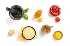 Set of dip sauces in bowl on white stock photo