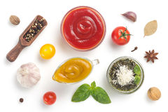 Set of dip sauces in bowl on white royalty free stock photos