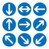 Set of direction signs. Blue circle mandatory informational symbols. Vector illustration isolated on white. White simple arrows. N. Otice icons. Collection Stock Image