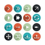 Set of directional buttons. Set of different directional buttons in flat web design style on a white background Royalty Free Stock Images