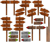 Set of Directional Wooden Signs with Pole Royalty Free Stock Photography
