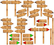 Set of Directional Wooden Signs with Pole Royalty Free Stock Photo