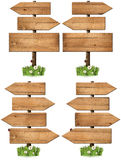 Set of Directional Wooden Signs with Pole Stock Images