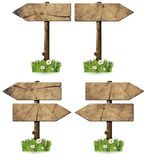 Set of Directional Wooden Signs with Pole Stock Photos